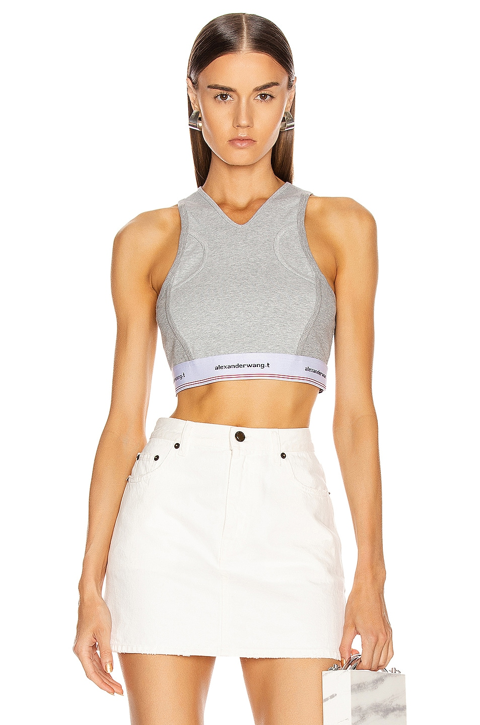 Image 1 of T by Alexander Wang Wash and Go Compact Rib Top in Heather Grey