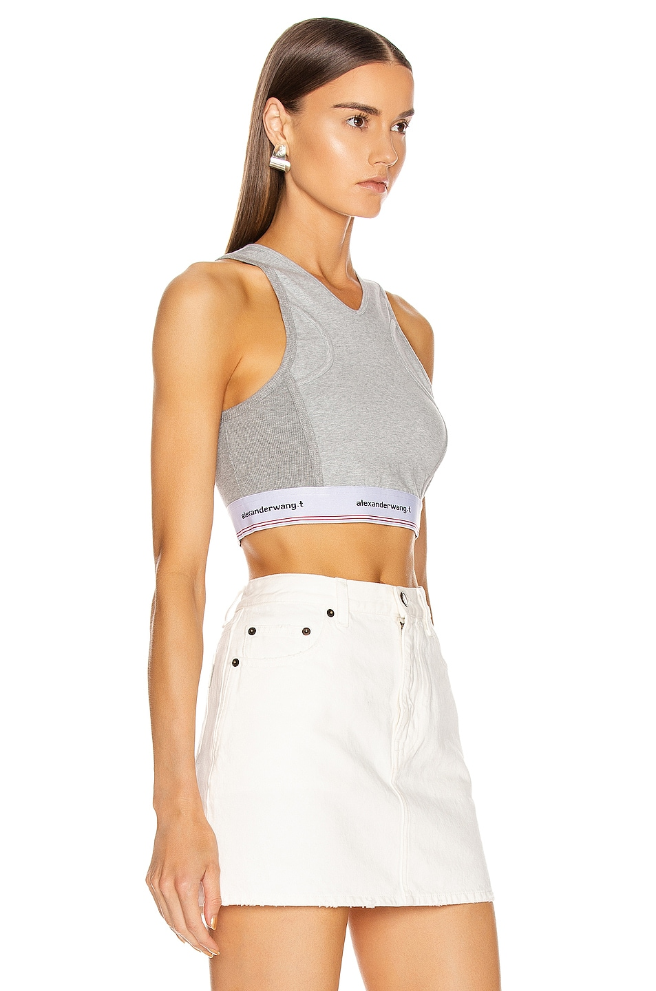 Image 2 of T by Alexander Wang Wash and Go Compact Rib Top in Heather Grey