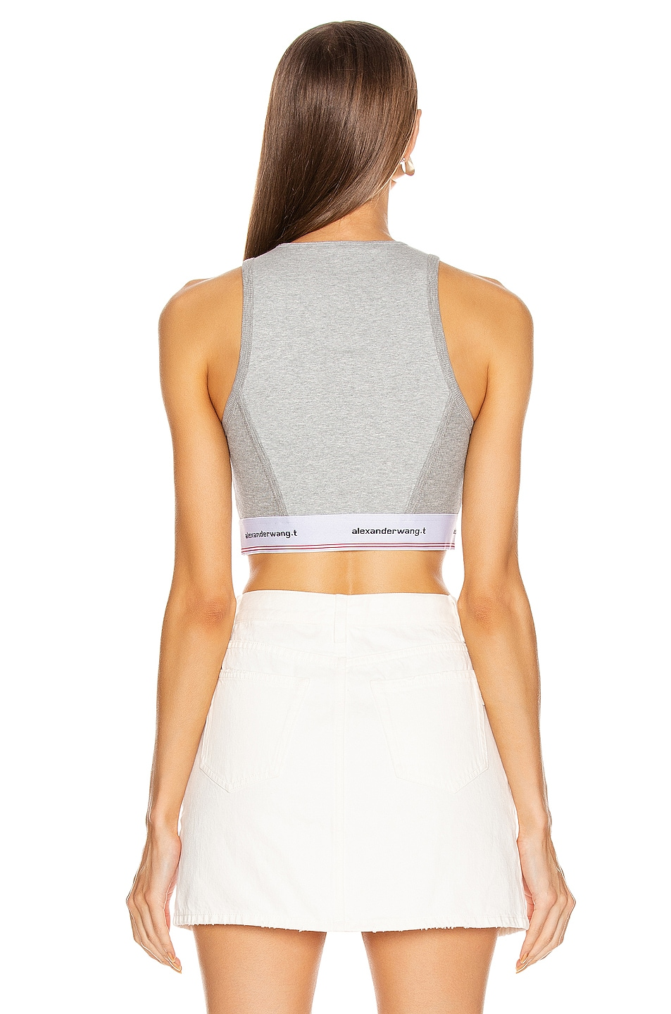 Image 3 of T by Alexander Wang Wash and Go Compact Rib Top in Heather Grey