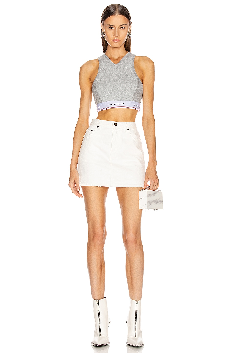 Image 4 of T by Alexander Wang Wash and Go Compact Rib Top in Heather Grey