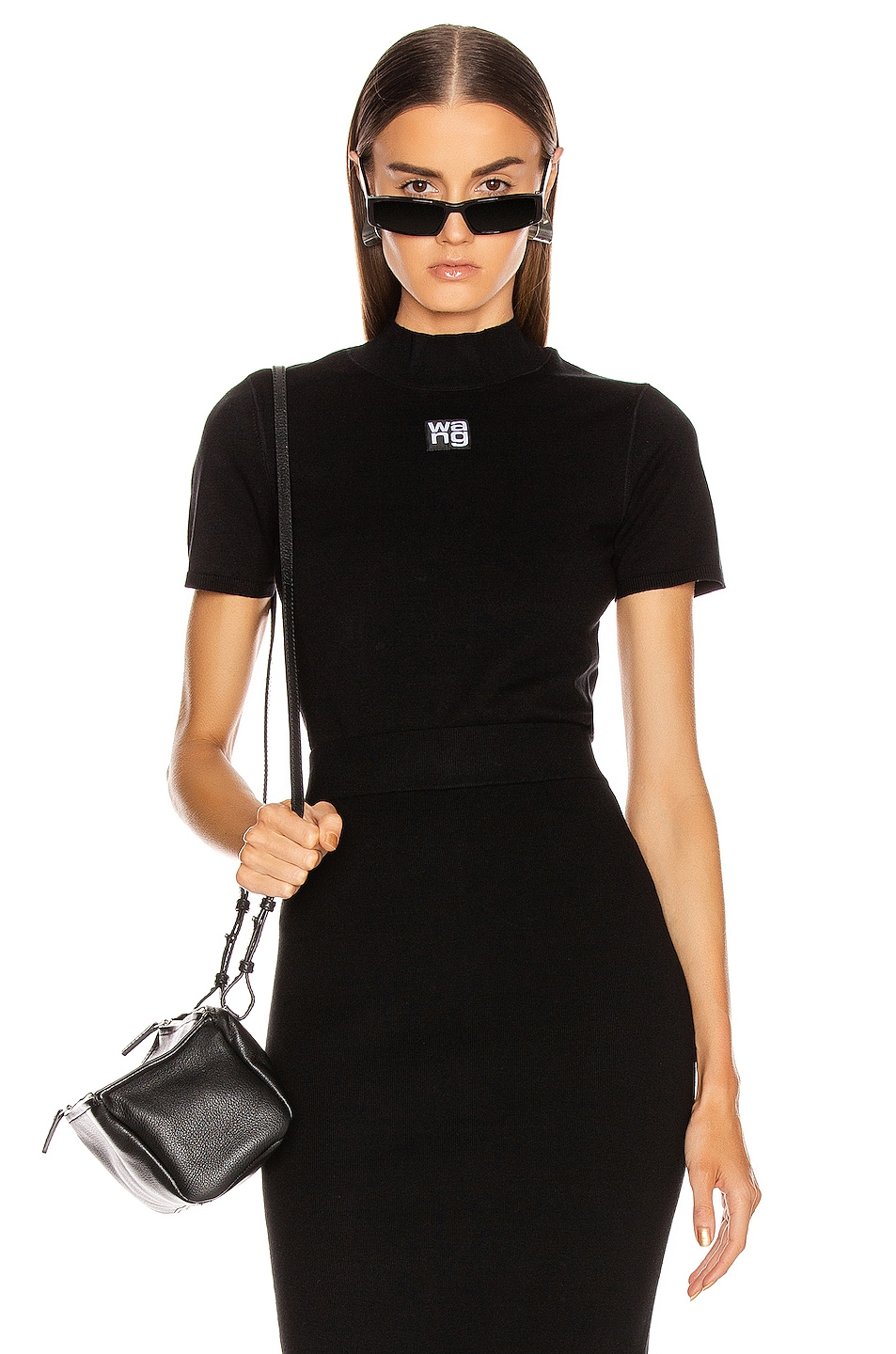 Image 1 of T by Alexander Wang Foundation Bodycon Bralette in Black