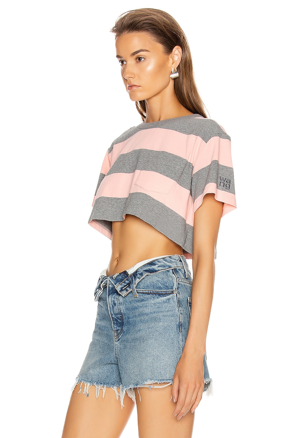 Image 3 of T by Alexander Wang Wash and Go Wide Stripe Crop in Charcoal & Blush