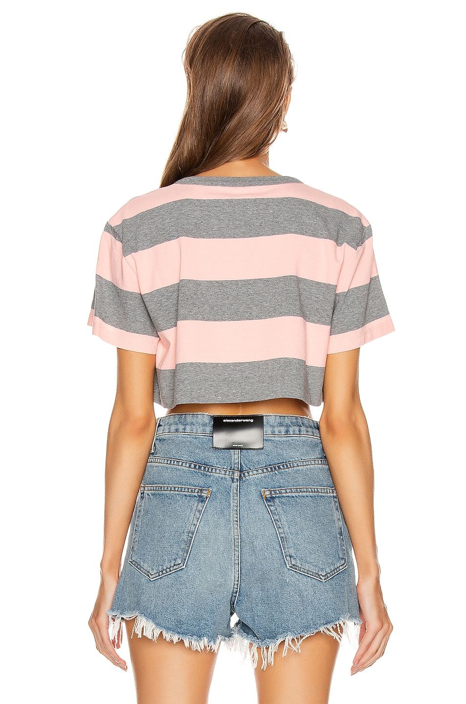 Image 4 of T by Alexander Wang Wash and Go Wide Stripe Crop in Charcoal & Blush