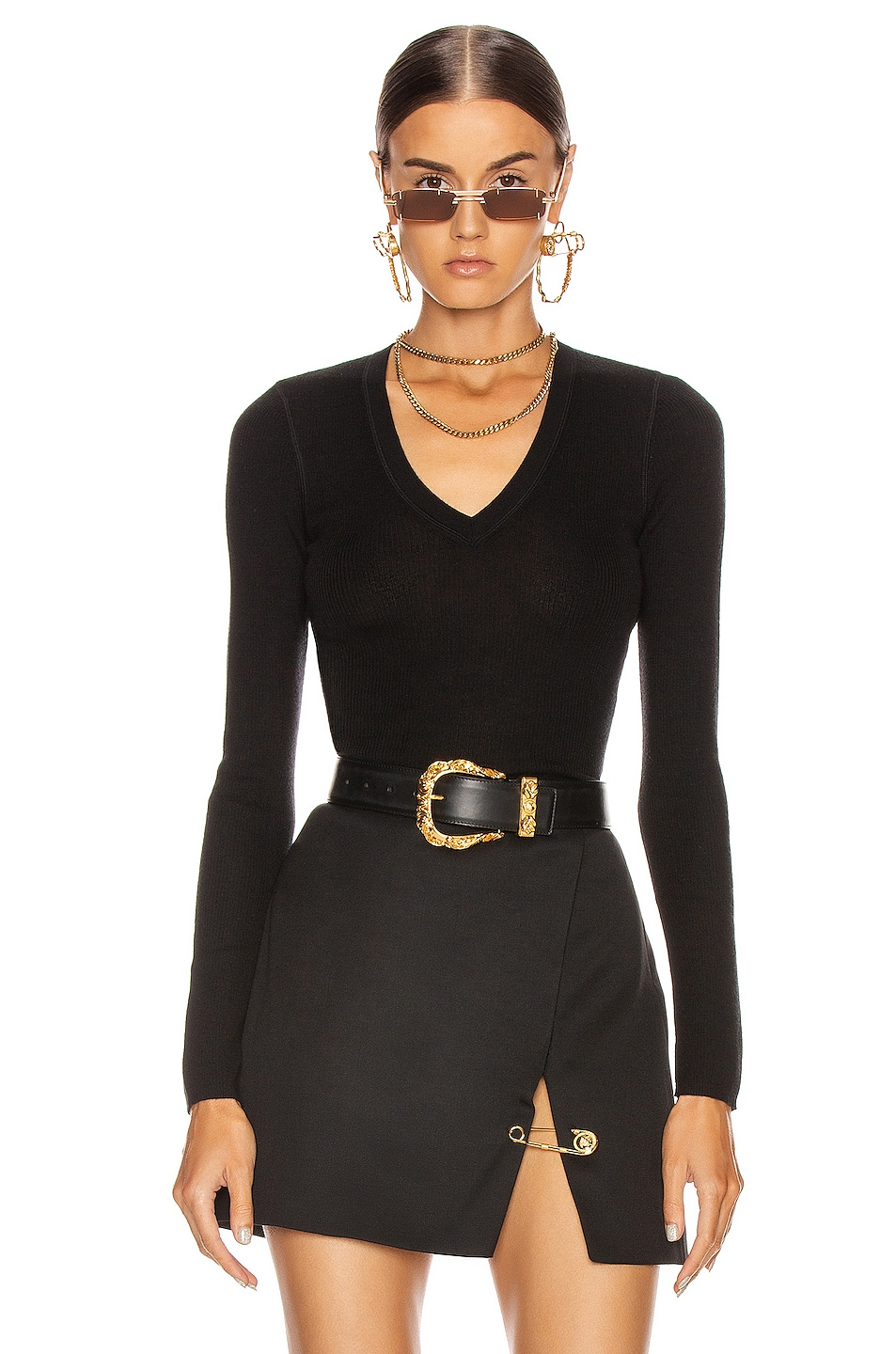 Image 1 of T by Alexander Wang Long Sleeve Knit Top in Black