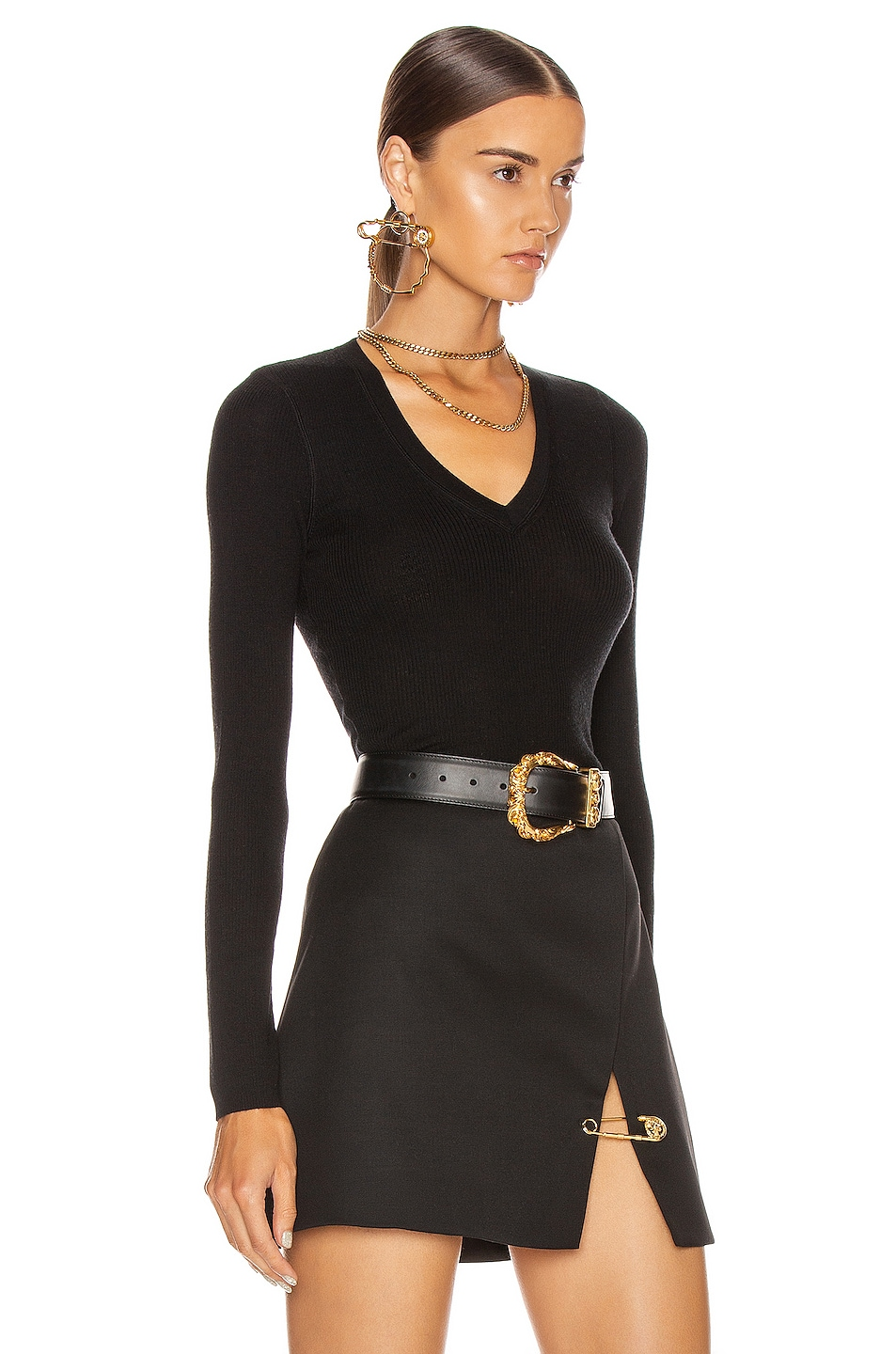 Image 2 of T by Alexander Wang Long Sleeve Knit Top in Black