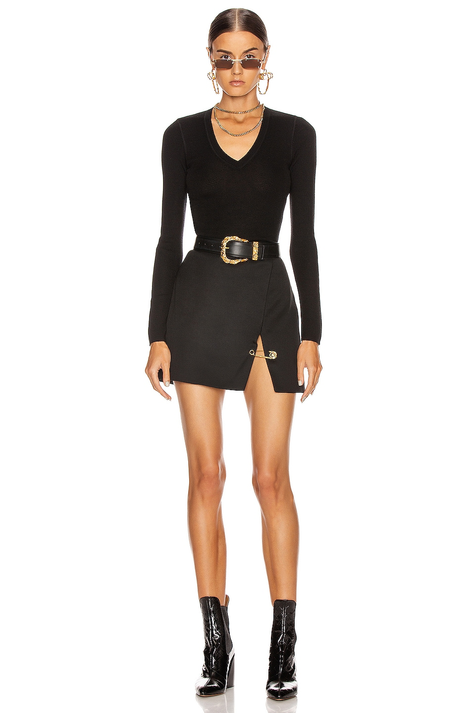 Image 4 of T by Alexander Wang Long Sleeve Knit Top in Black