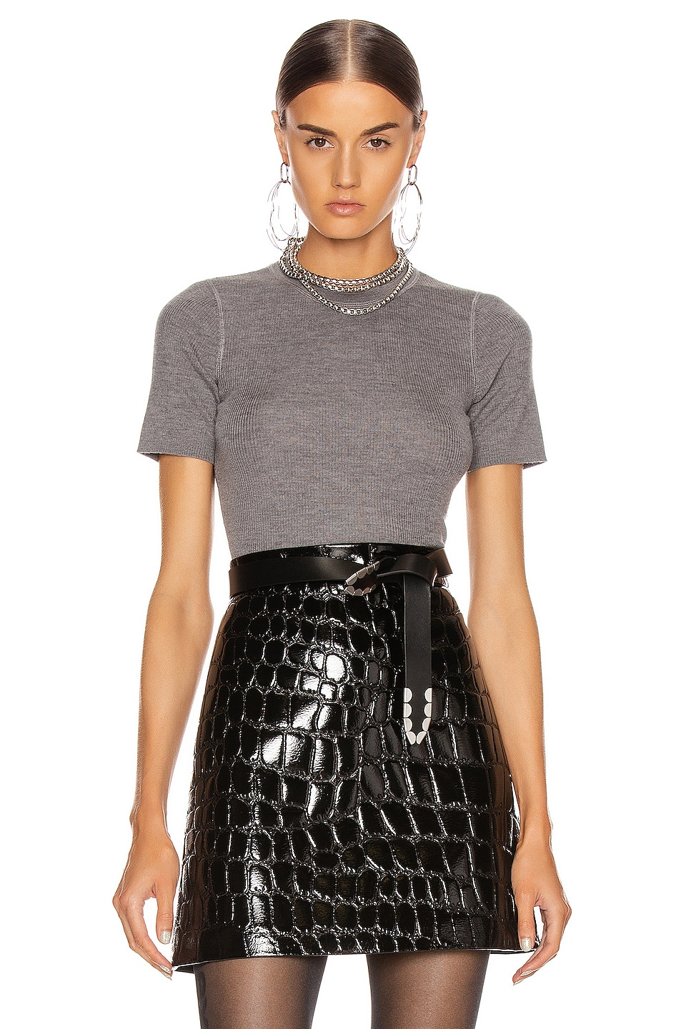 Image 1 of T by Alexander Wang Short Sleeve Knit Top in Heather Grey