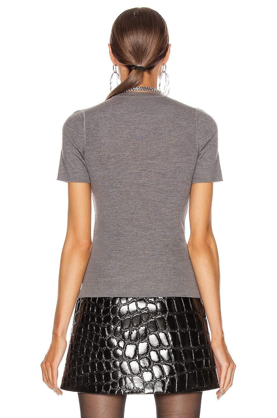 Image 3 of T by Alexander Wang Short Sleeve Knit Top in Heather Grey