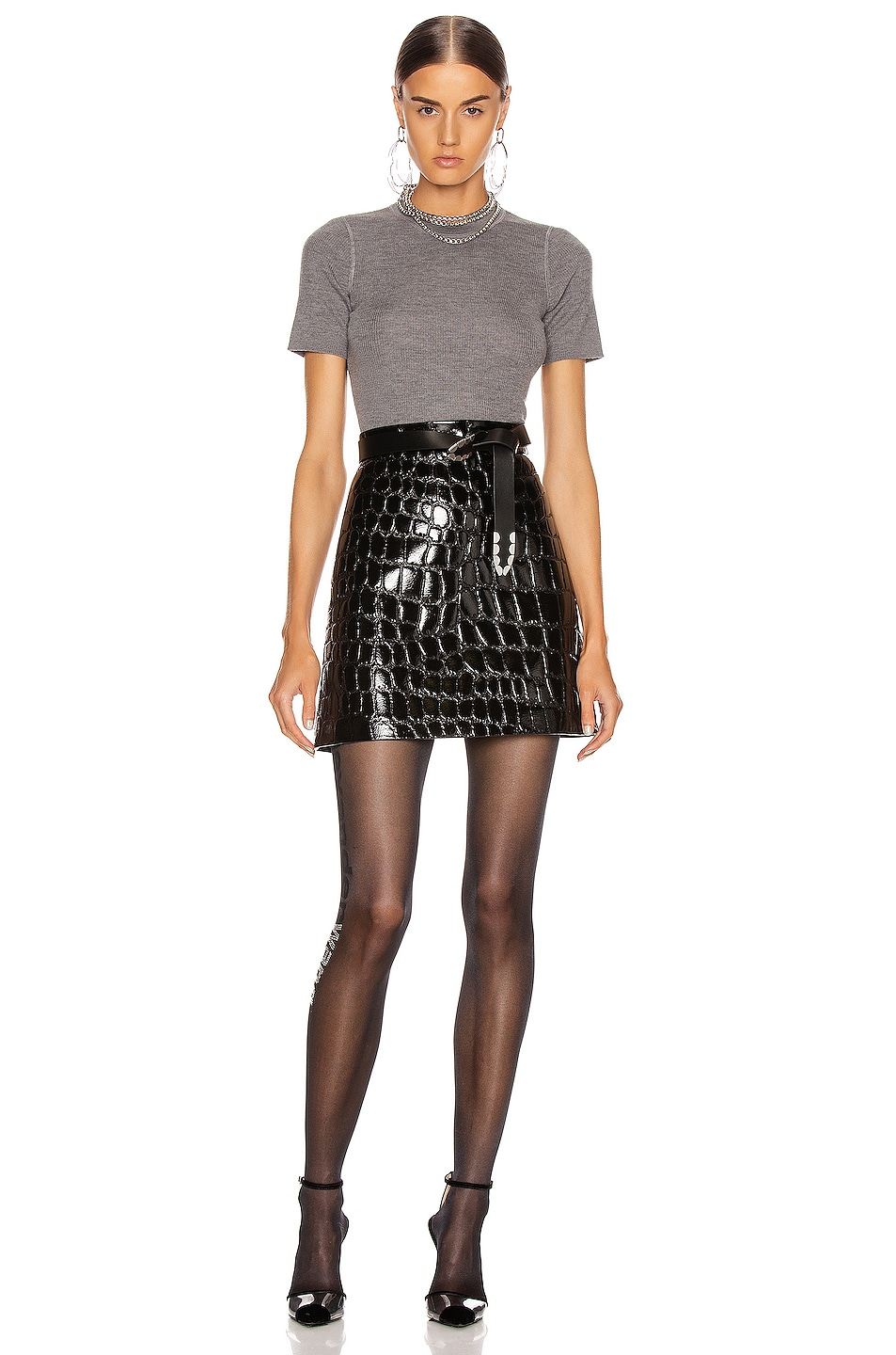 Image 4 of T by Alexander Wang Short Sleeve Knit Top in Heather Grey