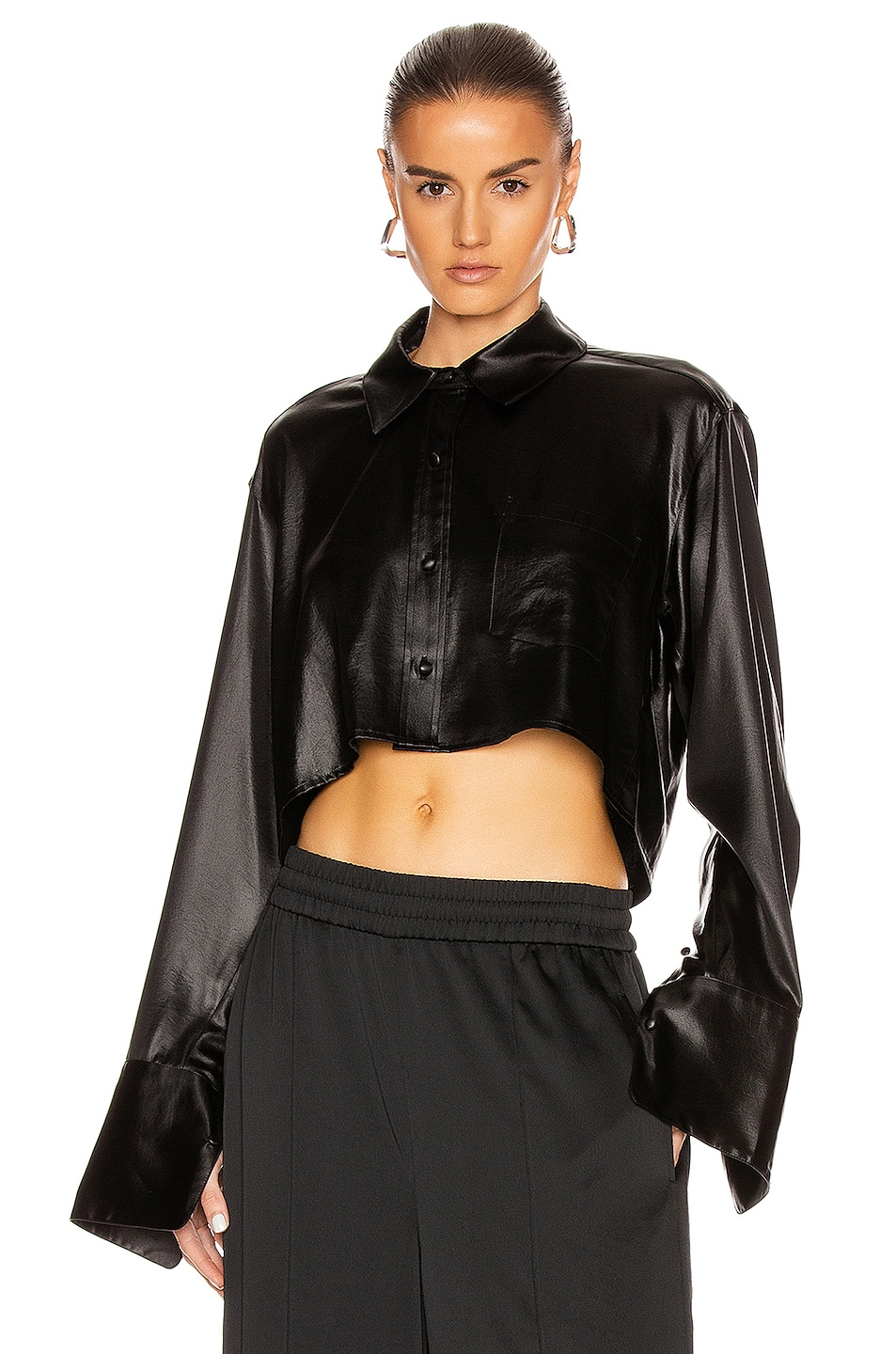 Image 1 of T by Alexander Wang Wet Shine Wash & Go Cropped Button Down in Black