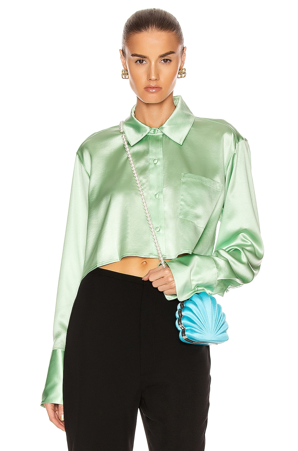 Image 1 of T by Alexander Wang Wet Shine Wash & Go Cropped Button Down in Mint