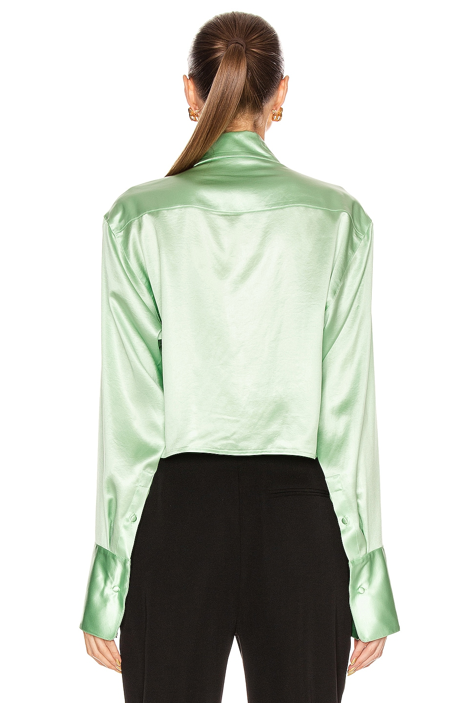 Image 3 of T by Alexander Wang Wet Shine Wash & Go Cropped Button Down in Mint
