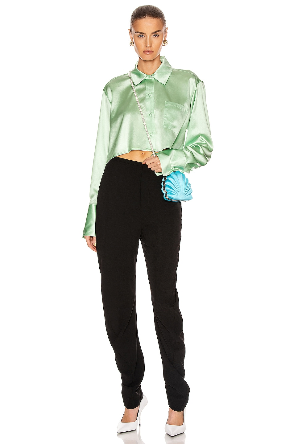 Image 4 of T by Alexander Wang Wet Shine Wash & Go Cropped Button Down in Mint