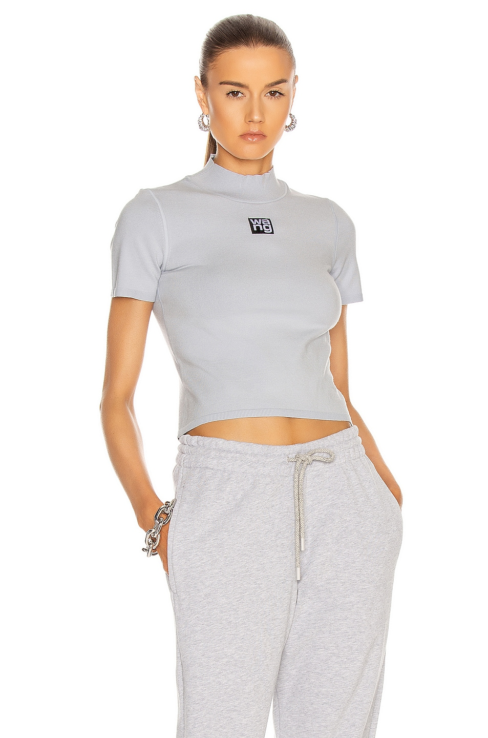 Image 1 of T by Alexander Wang Foundation Bodycon Mock Neck Top in Xenon Blue