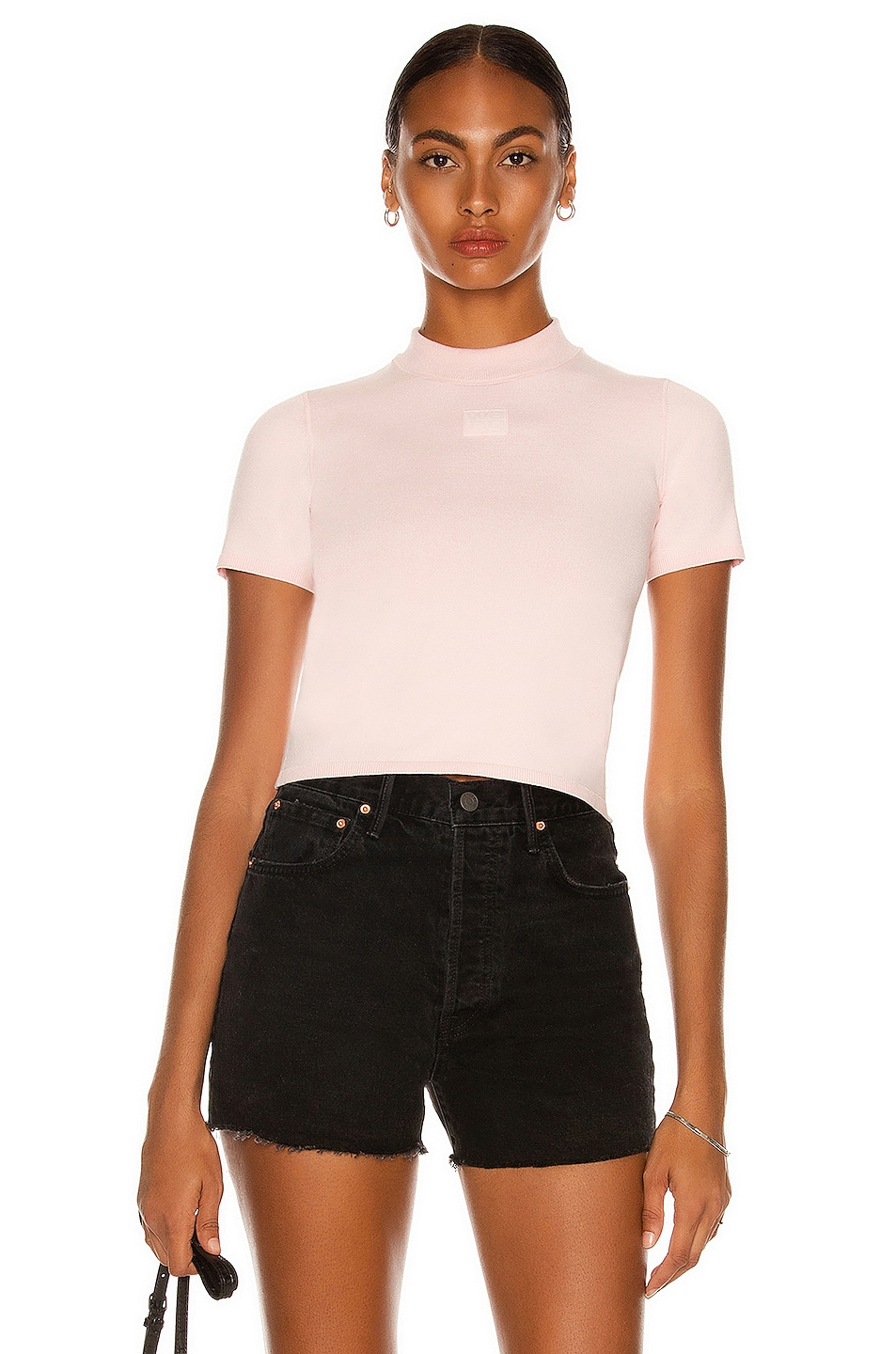 Image 1 of T by Alexander Wang Foundation Mock Neck Tee in Crystal Rose