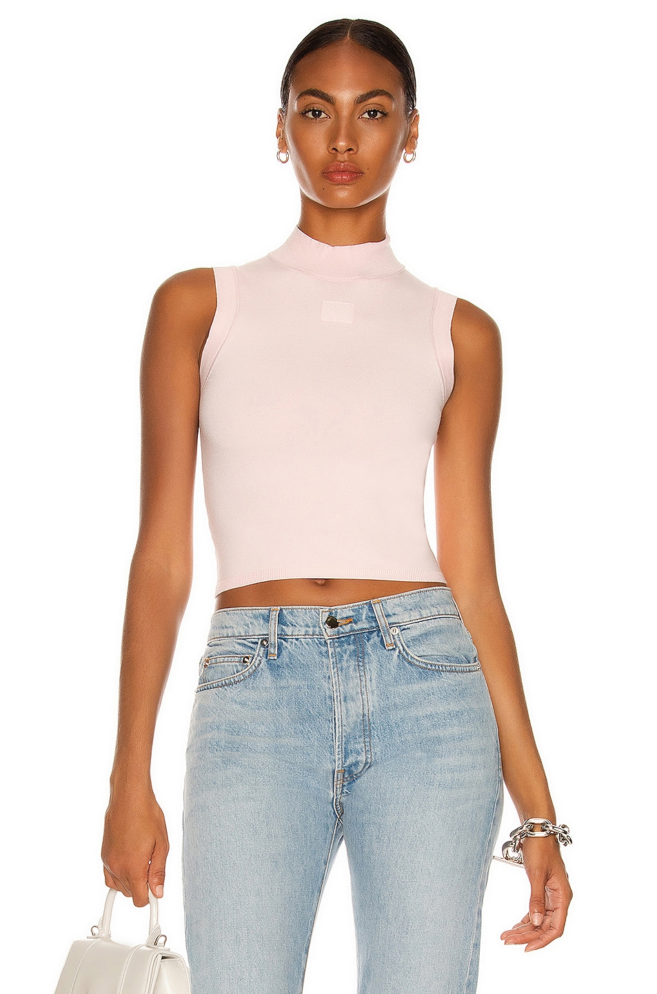 Image 1 of T by Alexander Wang Foundation Bodycon Logo Muscle Tank Top in Crystal Rose