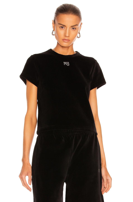 Image 1 of T by Alexander Wang Short Sleeve Baby Tee in Black