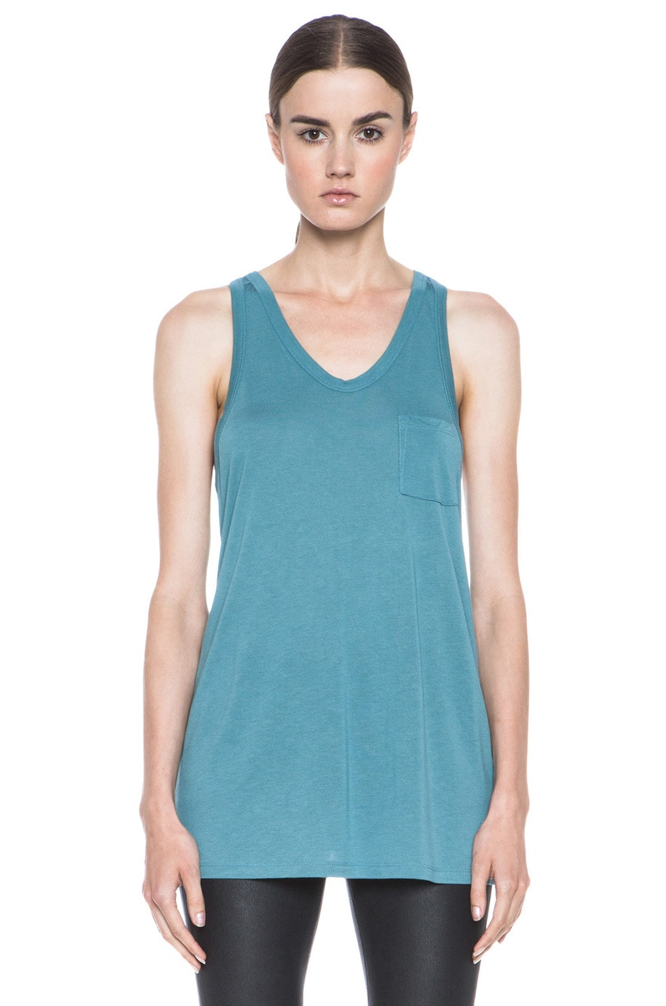 Image 1 of T by Alexander Wang Classic Viscose Tank with Pocket in Ocean