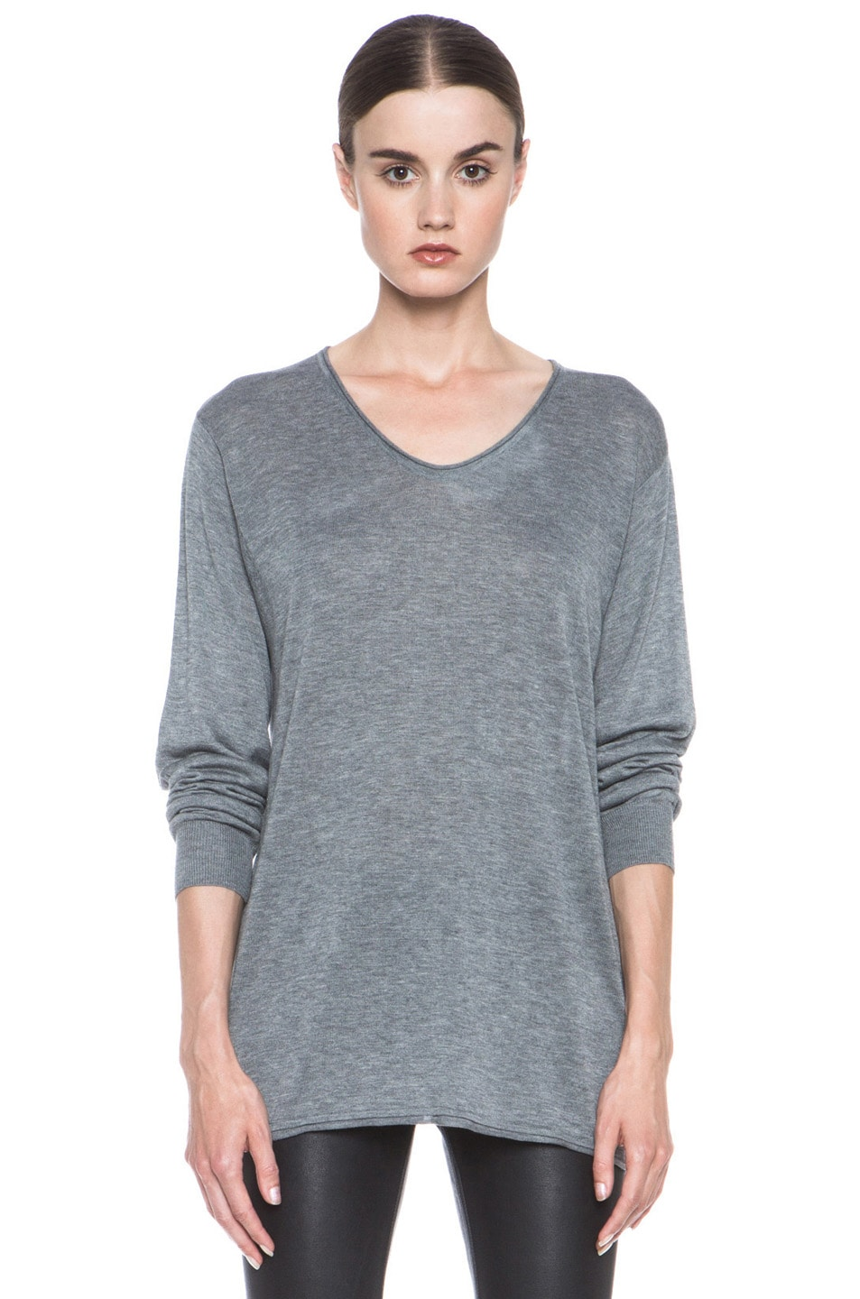 Image 1 of T by Alexander Wang Jersey Roll Low Neck Knit in Heather Grey