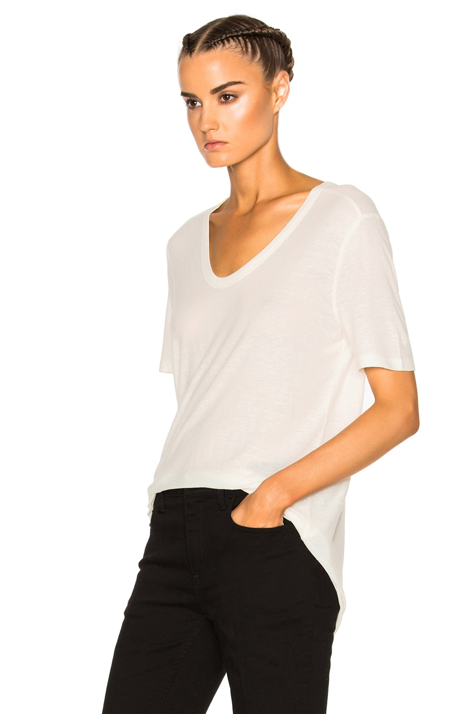 Image 2 of T by Alexander Wang Slub Classic Viscose-Blend Tee in Ivory
