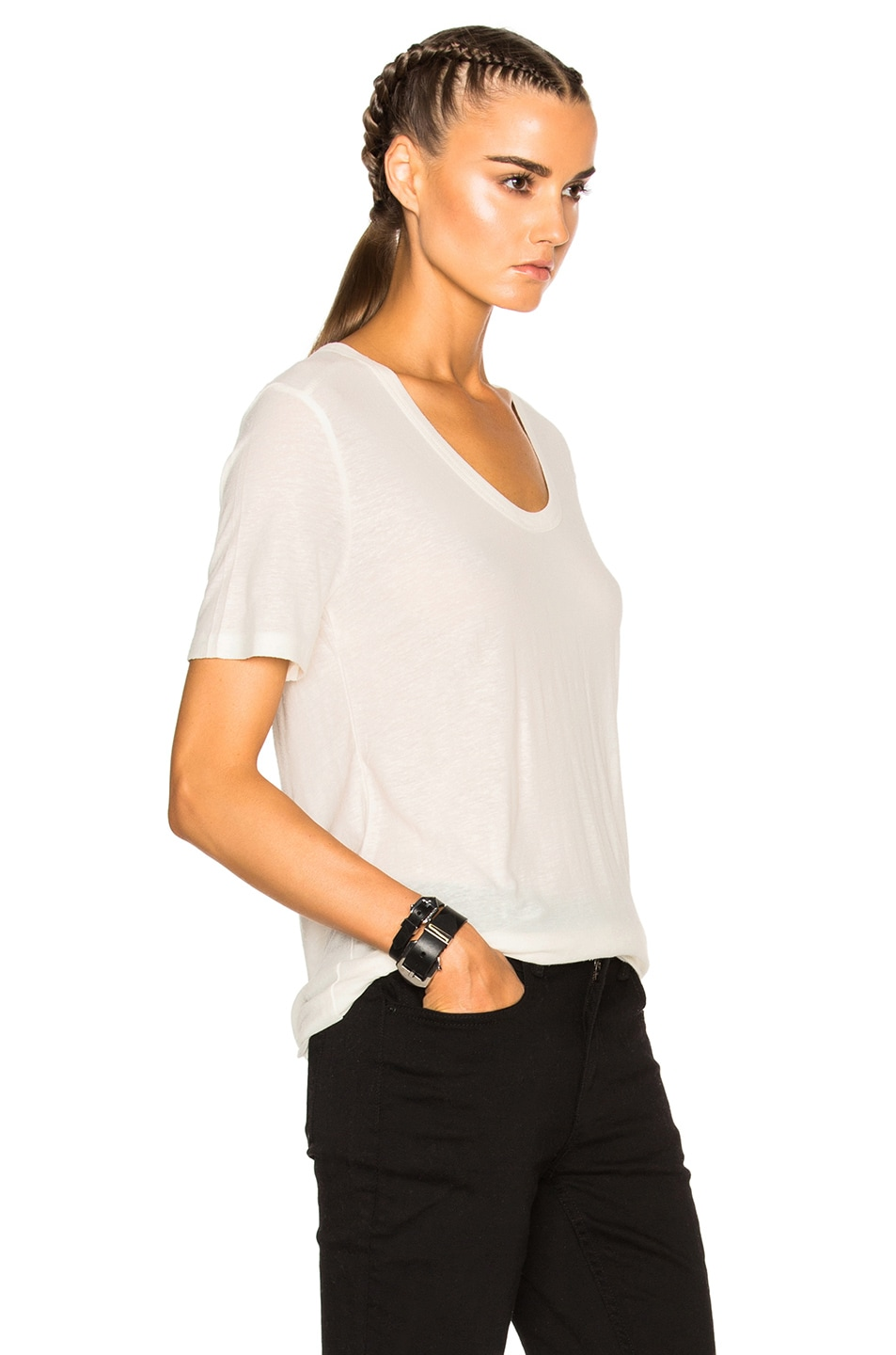 Image 3 of T by Alexander Wang Slub Classic Viscose-Blend Tee in Ivory