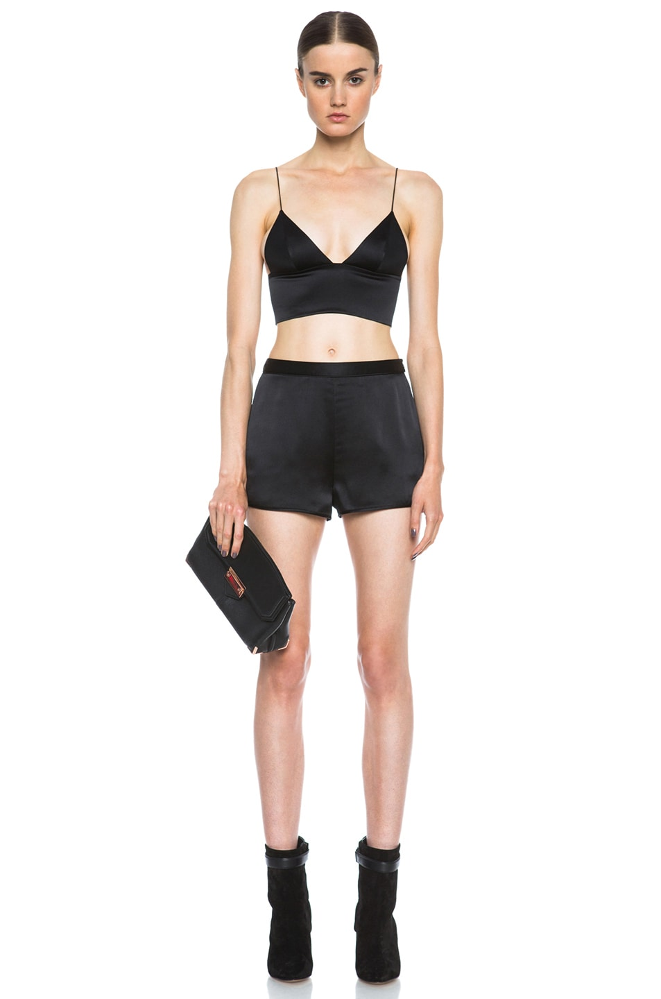 2c96a0321c1 Image 5 of T by Alexander Wang Silk Satin Triangle Bralette in Black