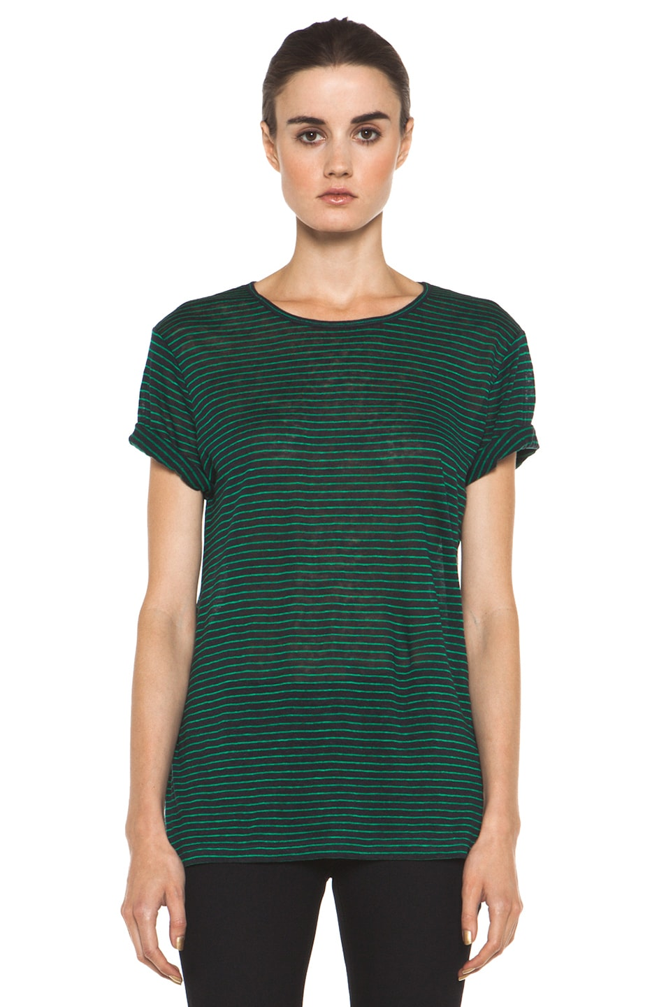 Image 1 of T by Alexander Wang Linen Stripe Tee in Ink & Vine