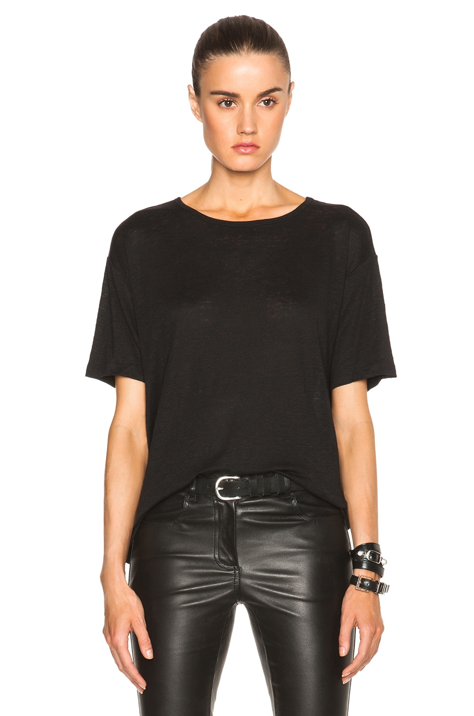 Image 1 of T by Alexander Wang Linen-Blend Jersey Oversized Tee in Black