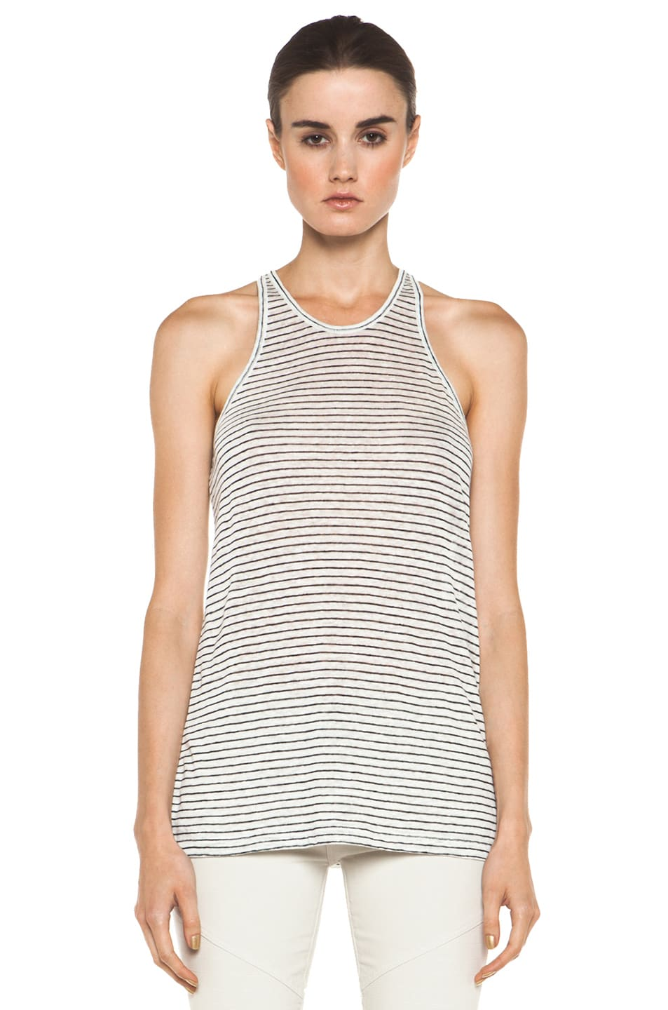 Image 1 of T by Alexander Wang Linen Stripe Tank in Chalk & Ink
