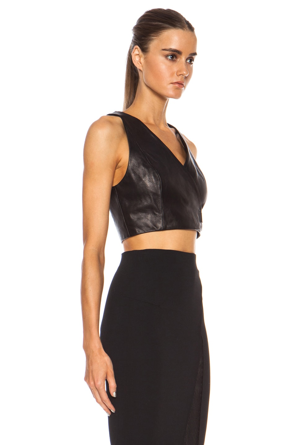 b7bc7724041487 Image 3 of T by Alexander Wang Leather Wrap Crop Top in Black