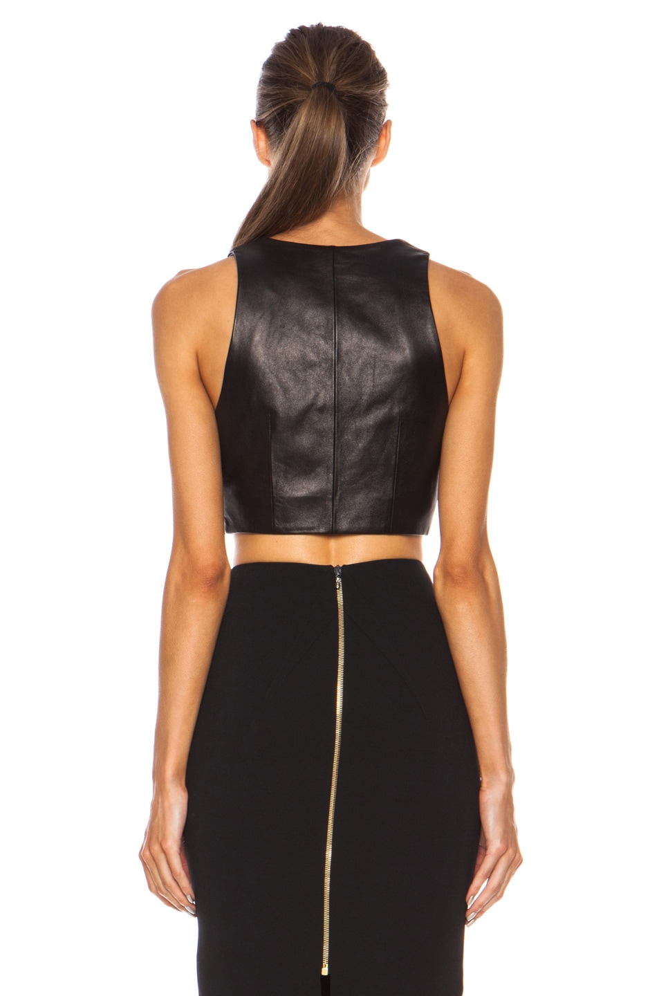 f65e3306240bd4 Image 4 of T by Alexander Wang Leather Wrap Crop Top in Black