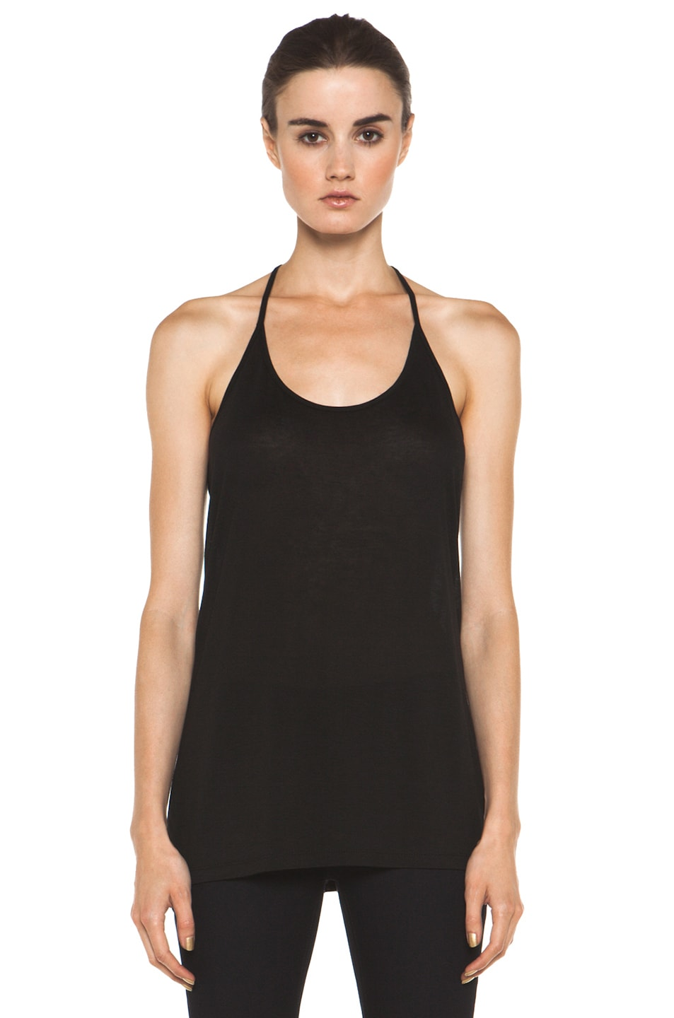 Image 1 of T by Alexander Wang Warm Jersey Skinny Strap Tank in Black