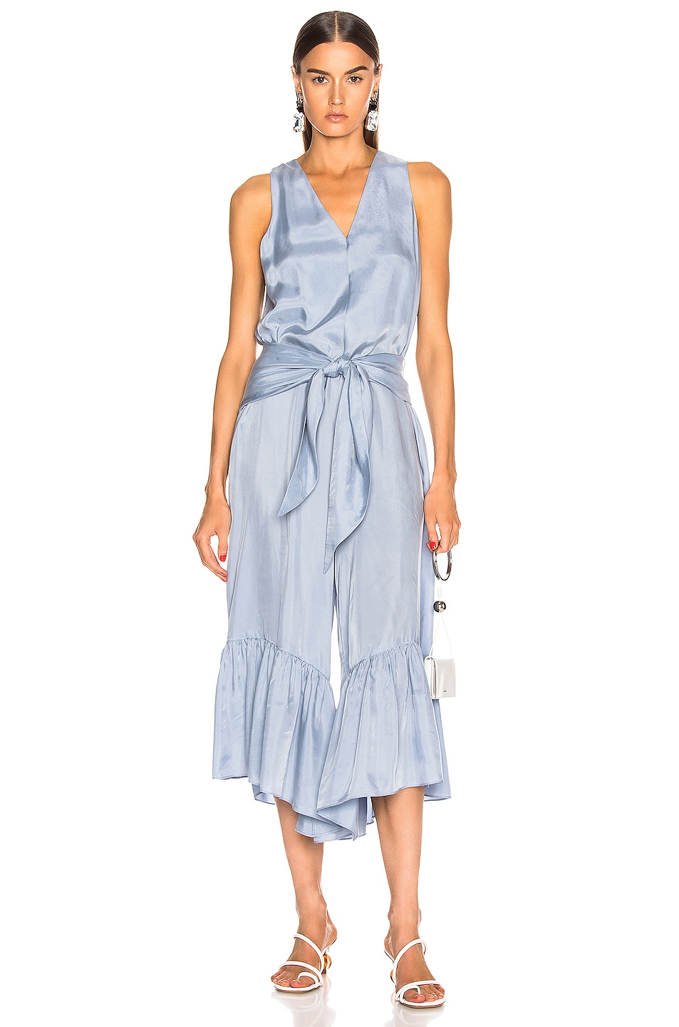 Image 1 of Tibi Cami Ruffle Jumpsuit in Blue Grey