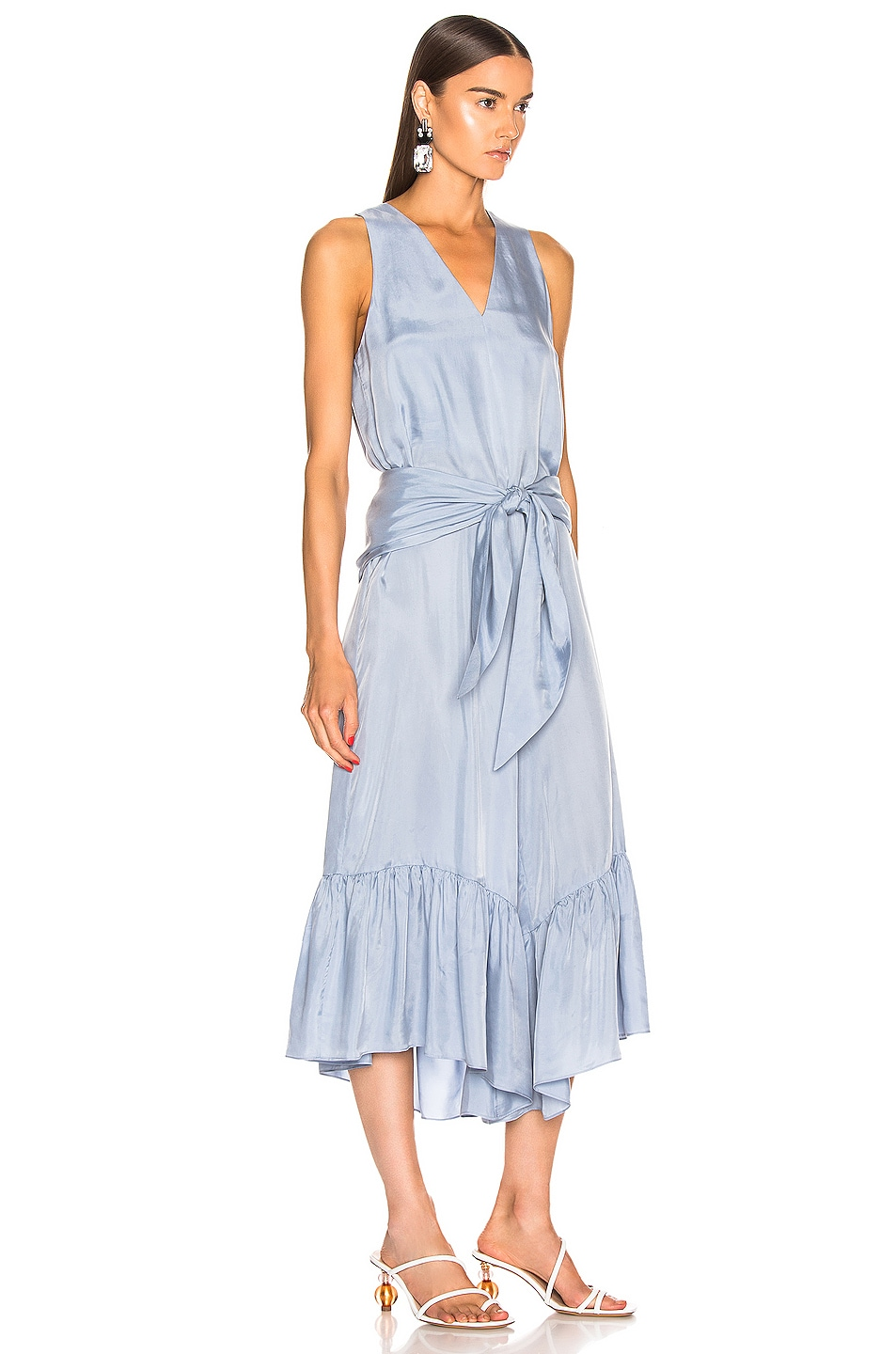 Image 2 of Tibi Cami Ruffle Jumpsuit in Blue Grey