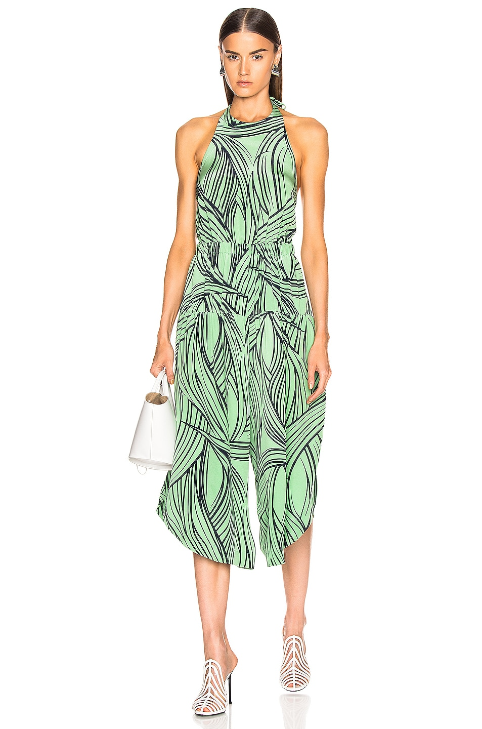 Image 1 of Tibi Zebra Print Halter Jumpsuit in Mint Multi