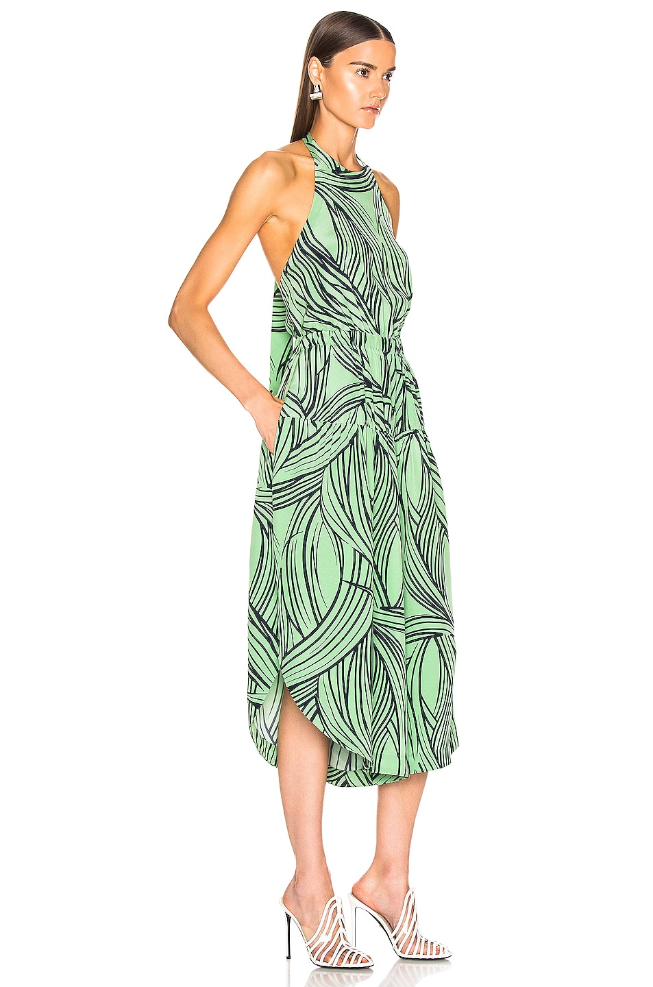 Image 2 of Tibi Zebra Print Halter Jumpsuit in Mint Multi