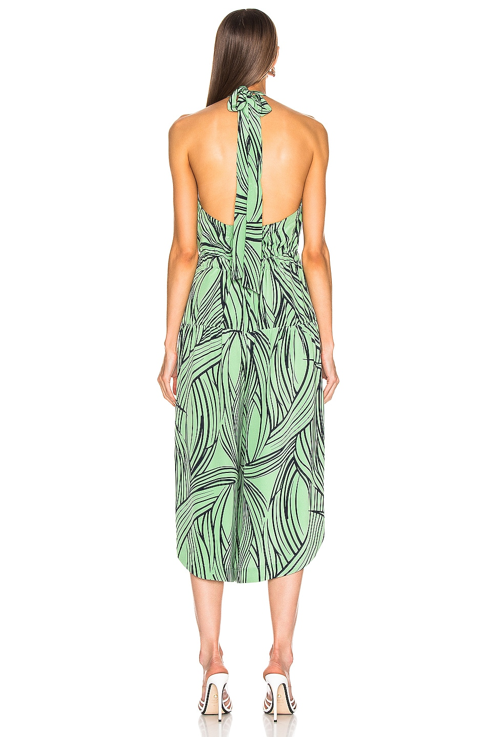 Image 3 of Tibi Zebra Print Halter Jumpsuit in Mint Multi