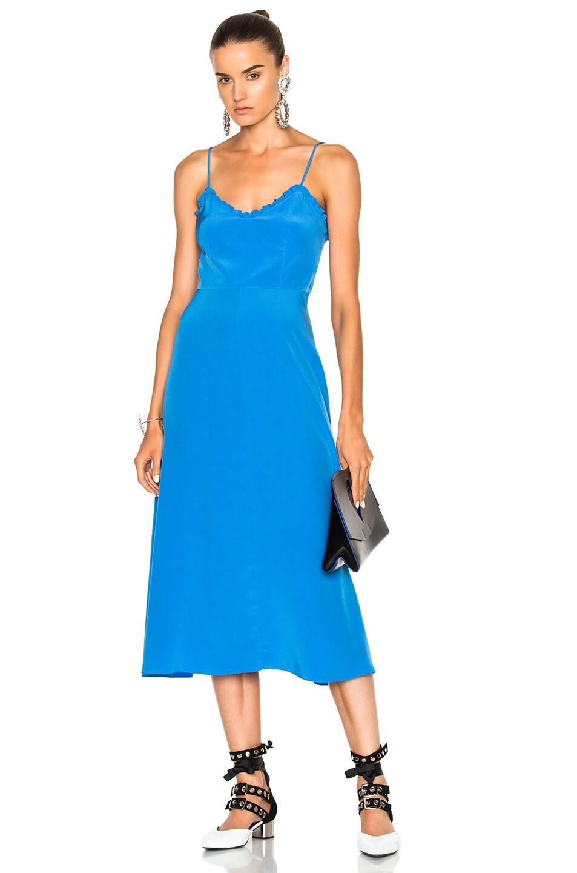 Tibi Silk Ruffle Dress in Blue