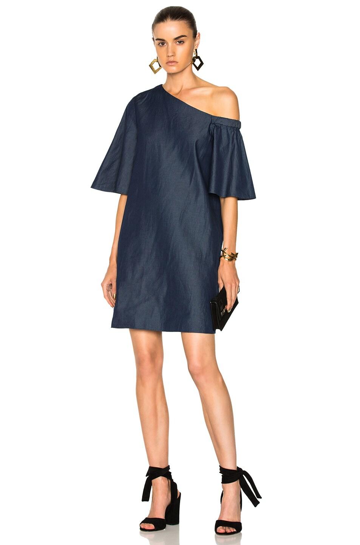 4ad913055f Image 1 of Tibi One Shoulder Bell Sleeve Dress in Dark Denim