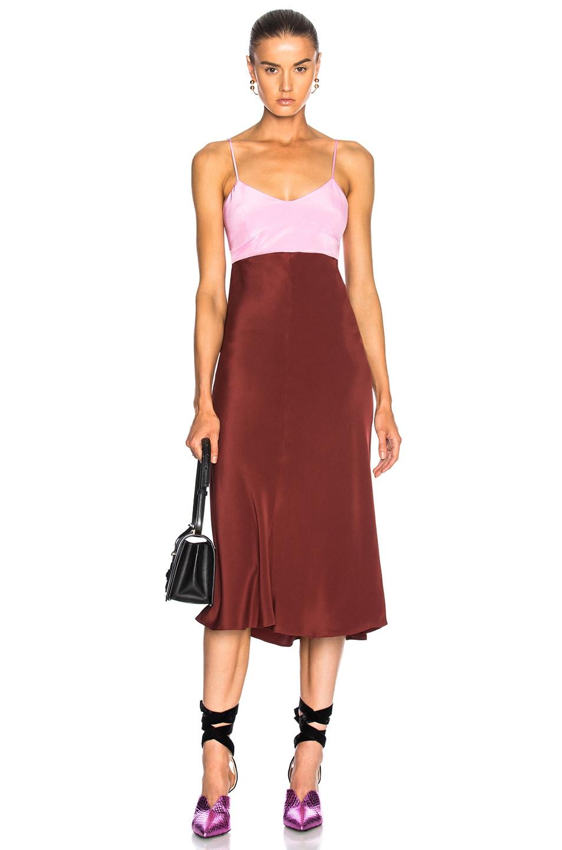 Image 1 of Tibi Silk Bias Dress in Burnt Red Multi