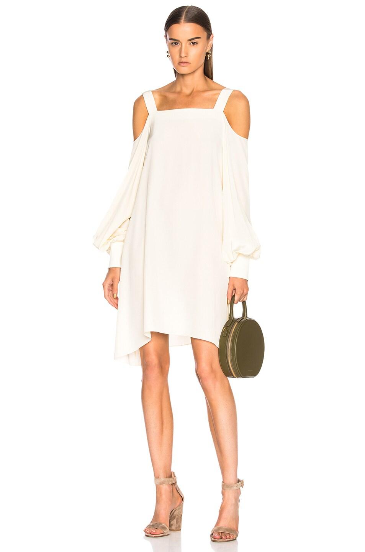 Image 1 of Tibi Cold Shoulder Dress in Butter