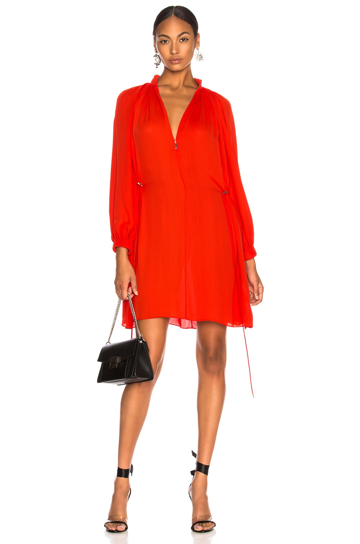 Image 1 of Tibi Viscose GGT Short Drawstring Hem Dress in Red
