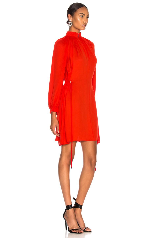 Image 3 of Tibi Viscose GGT Short Drawstring Hem Dress in Red
