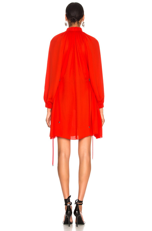 Image 4 of Tibi Viscose GGT Short Drawstring Hem Dress in Red