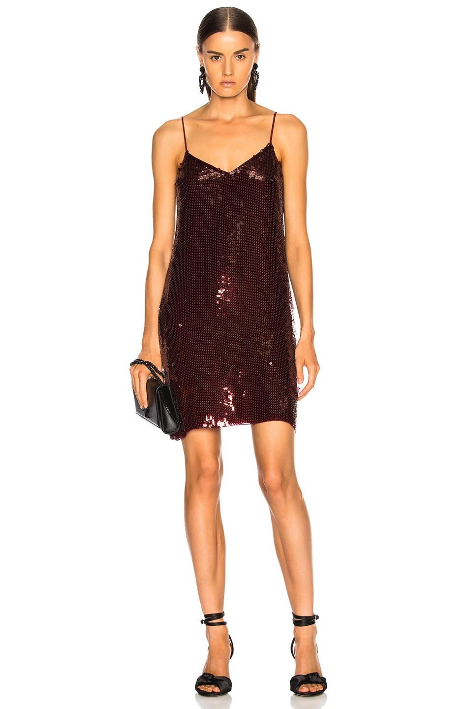 f5df49df Image 1 of Tibi Sequins Beaded Slip Dress in Burgundy