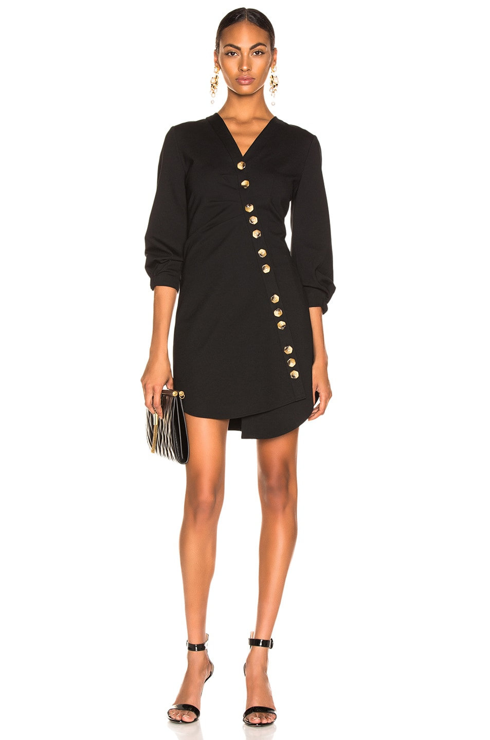 317a4fb10161 Image 1 of Tibi Asymmetrical Shirt Dress in Black