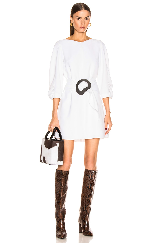 Image 1 of Tibi Shirred Sleeve Dress in White