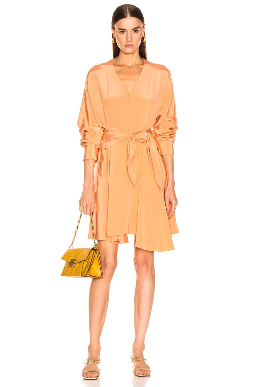 Image 1 of Tibi Long Sleeve Wrap Dress in Sunset Orange