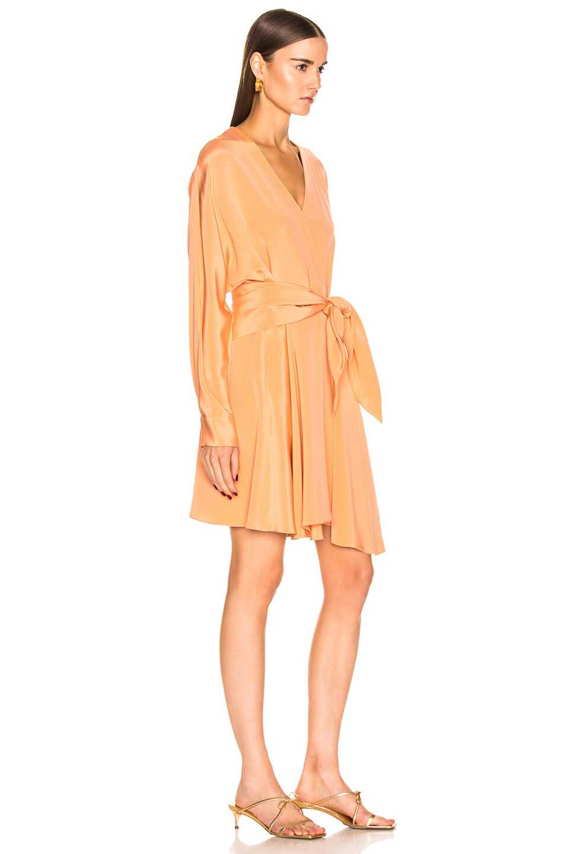 Image 2 of Tibi Long Sleeve Wrap Dress in Sunset Orange