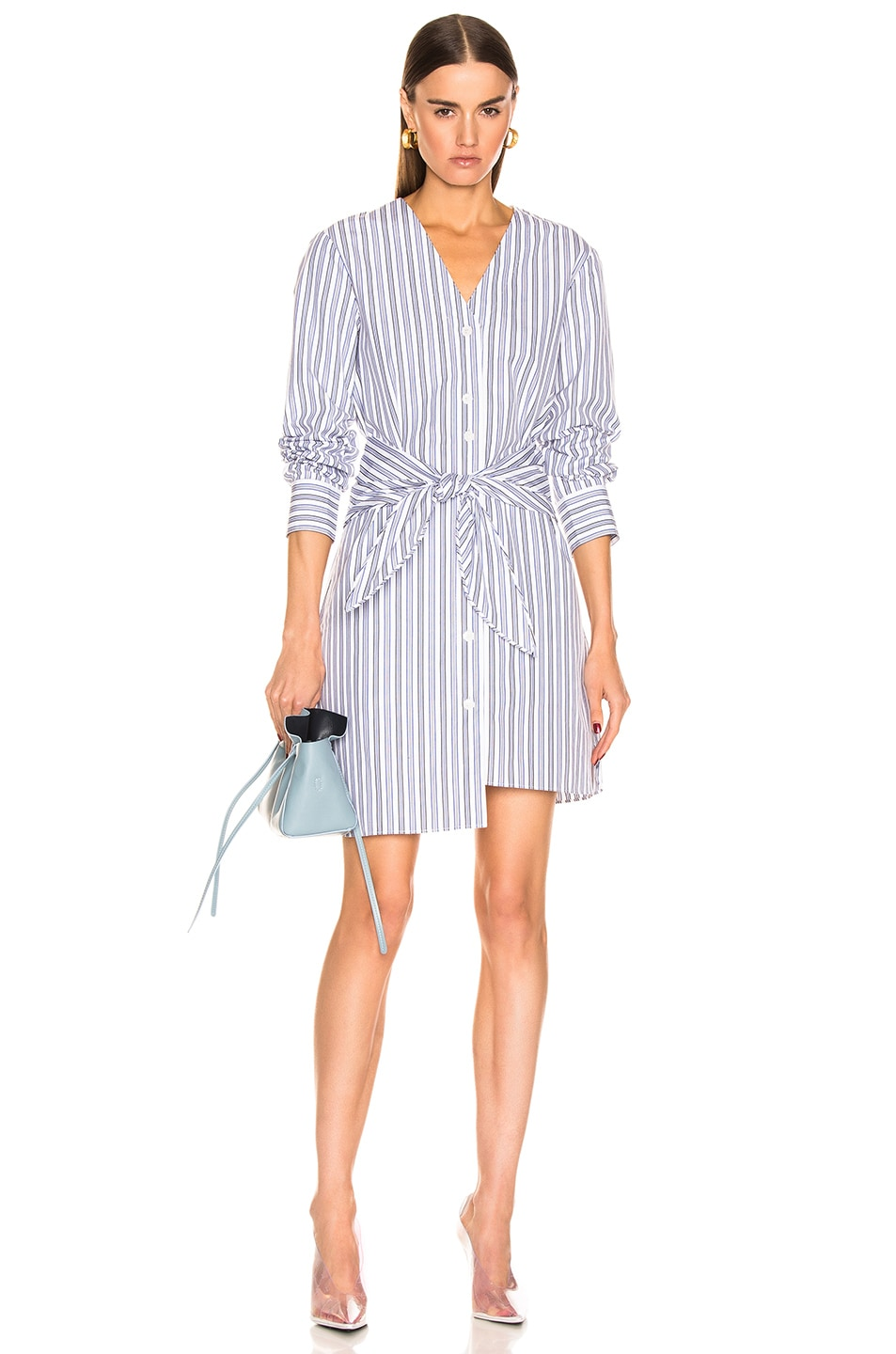 Image 1 of Tibi Liam Stripe V-Neck Shirtdress in Blue Multi